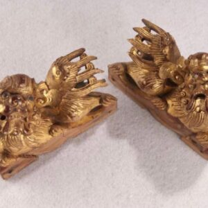 A Pair of Antique Gold Leaf Wooden Lion