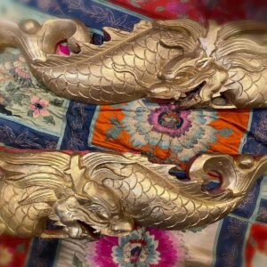 A Pair of Wooden Dragon Fish